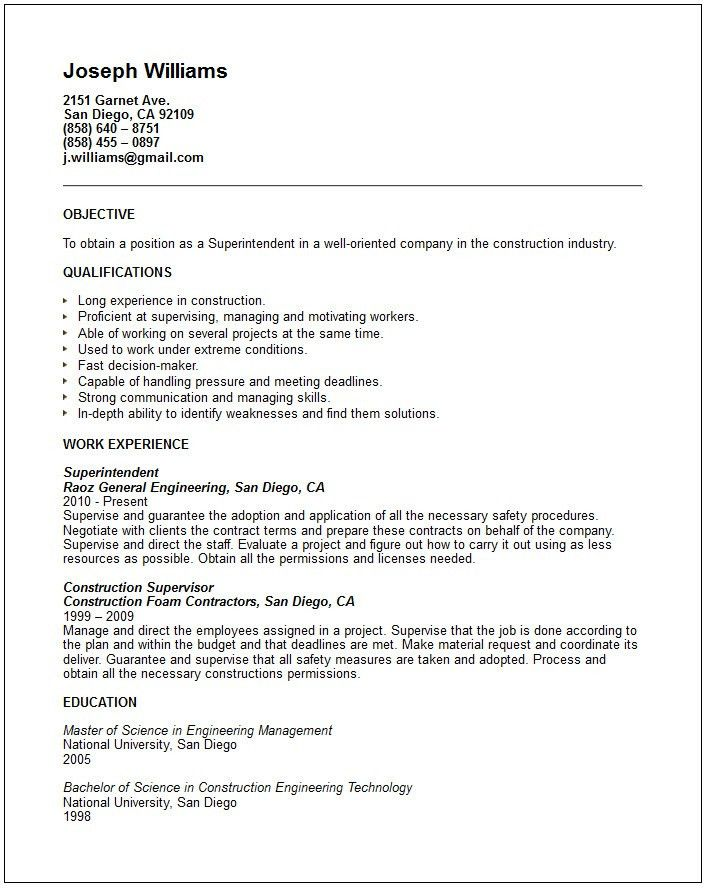 Superintendent Resume Examples - Examples of Resumes - plant superintendent resume