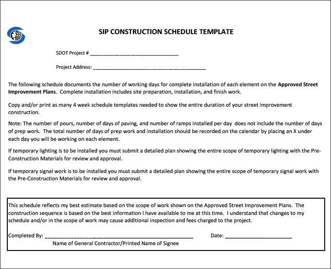 Free Construction Project Management Templates Construction - construction schedules templates