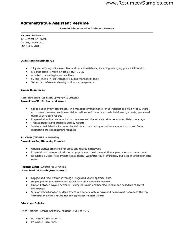 Resume Samples For Administrative Assistant Position Best - resume template for administrative assistant