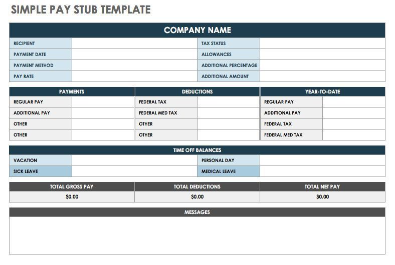 Blank Pay Stubs Template Download Blank Pay Stub Templates Excel - payroll stub template free