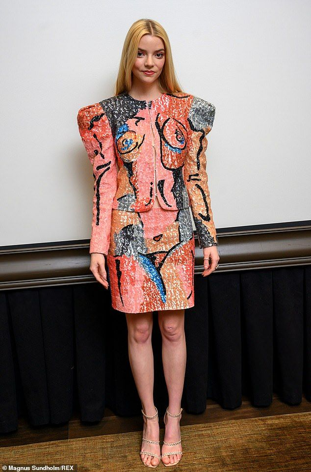 Wow:Anya Taylor-Joy donned an eye-catching ensemble to attend the photocall for her lates...
