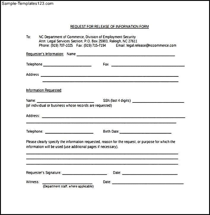 Medical Release Of Information Form Template Sample Medical - medical information release form