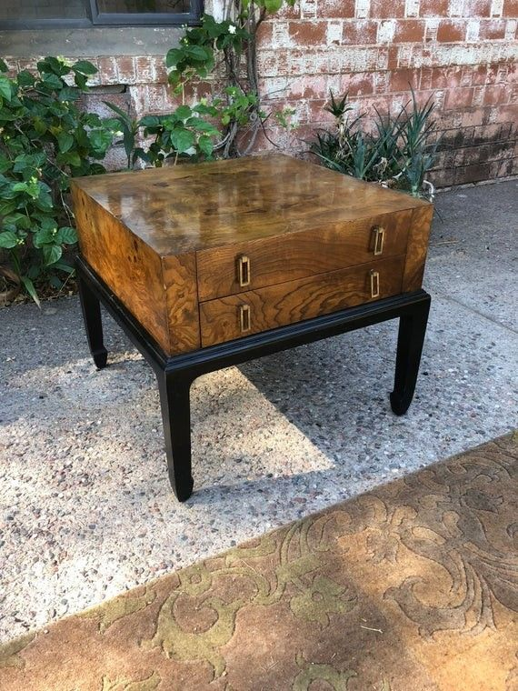 etsy Beautiful Vintage Burl Wood Accent Asian Accent of End Table by Hekman
