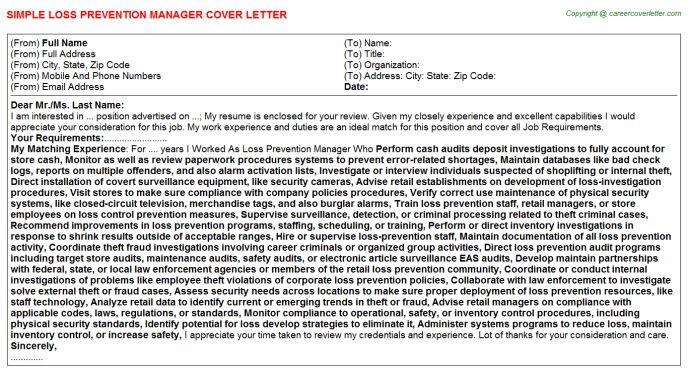 Regional Loss Prevention Manager Cover Letter Cover Letter