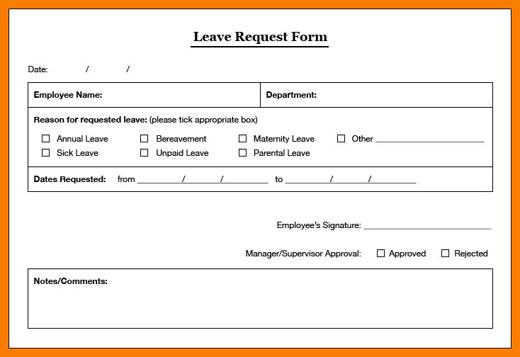 ... Staff Leave Form 7 Sample Leave Application Forms Sample Example    Format Of Leave Application Form ...  Example Of Leave Form