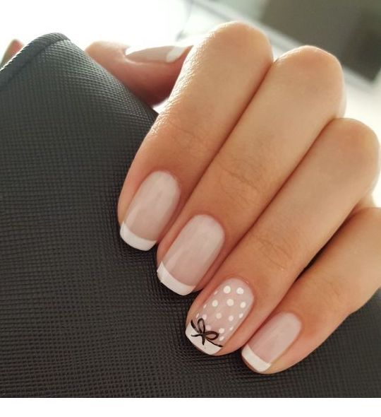 Sweet french nails with polka dots