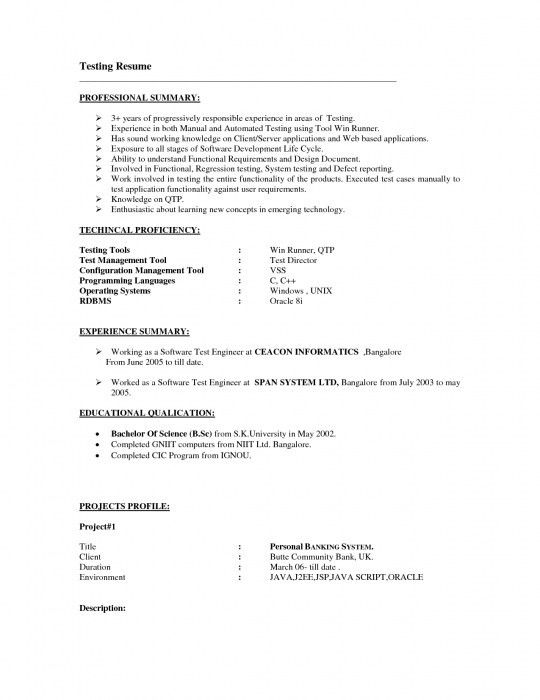 manual testing resume sample - Software Tester Resume