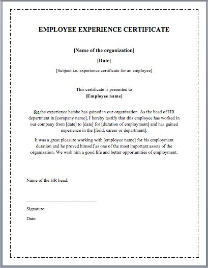 Experience certificate format letter resume template employee working certificate format employment certificate 36 experience certificate format letter yadclub Choice Image