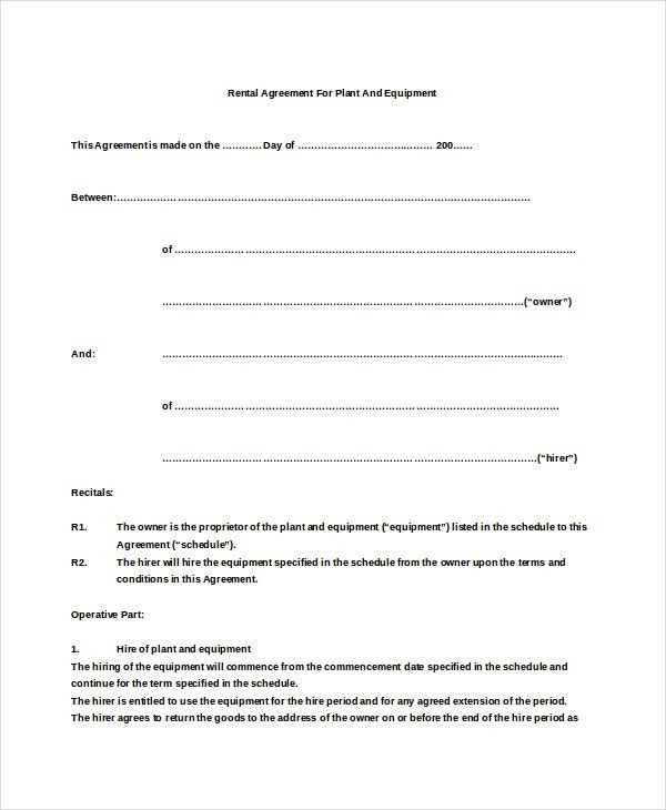 Simple Rent Agreement Form 14 Simple Rental Agreement Templates - sample equipment rental agreement