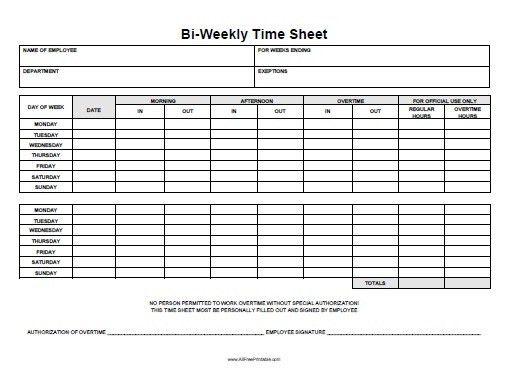 Free Blank Time Sheets Weekly Time Sheet Free Printable - printable employee time sheet