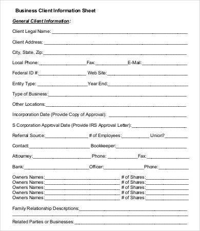Profile Sheet Template. fact company sheet sample template word ...
