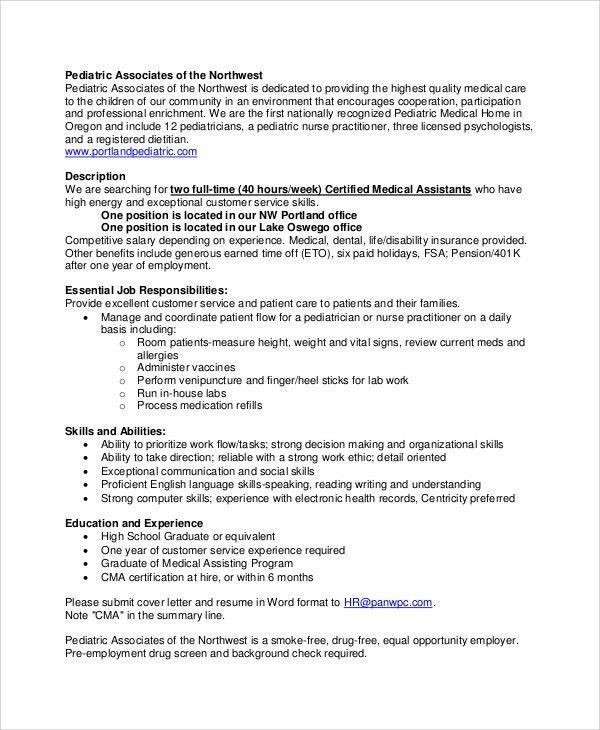 Registered Medical Assistant Job Description Medical Assistant - medical professional resume