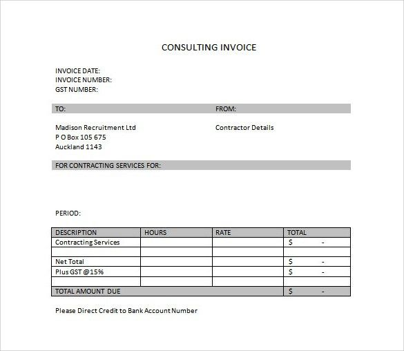 Consulting Services Invoice Free Service Invoice Template For - consulting invoice sample