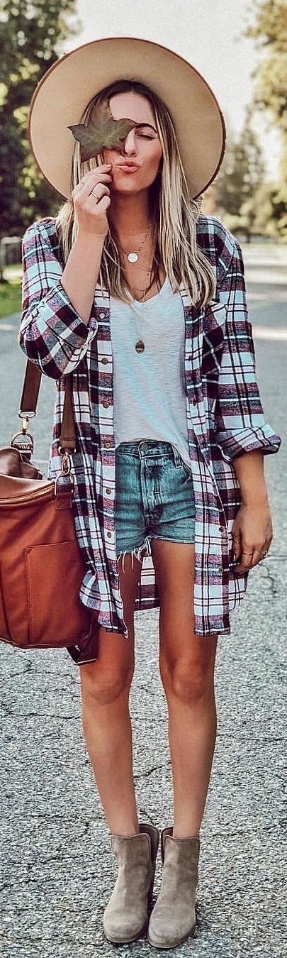 brown and white plaid dress shirt