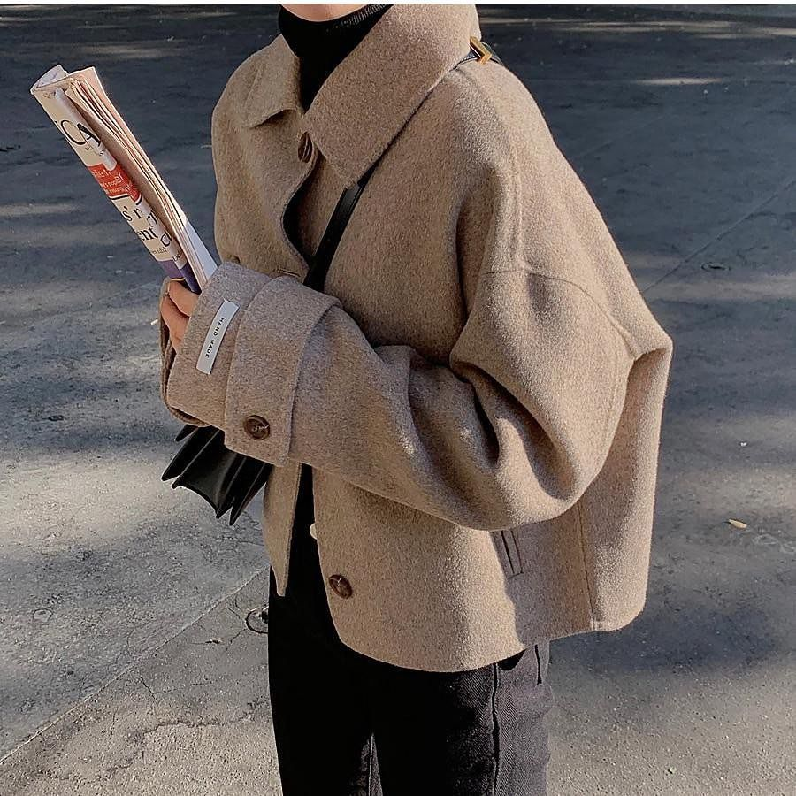 """K-Style Clothing on Instagram: """"Stay warm with our cropped wool blended short coat made in a relaxed fit for a comfy easy wear 💕 . [Korean Style] Latte Single Breasted…"""""""