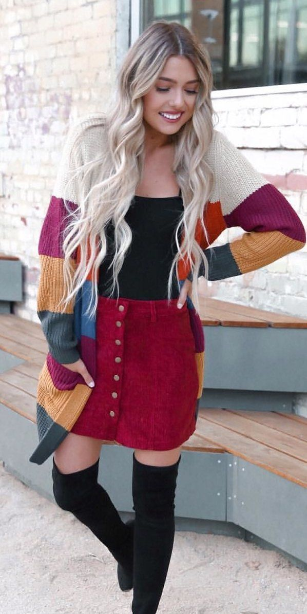 red suede button-up skirt