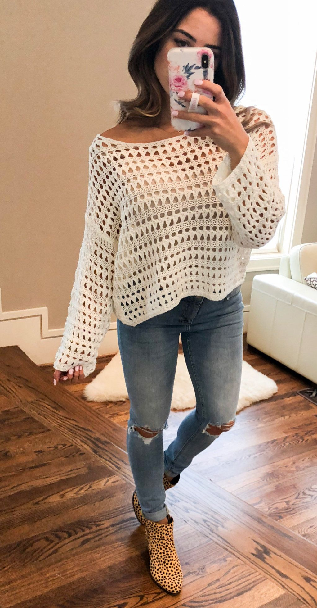 white lace long-sleeved shirt