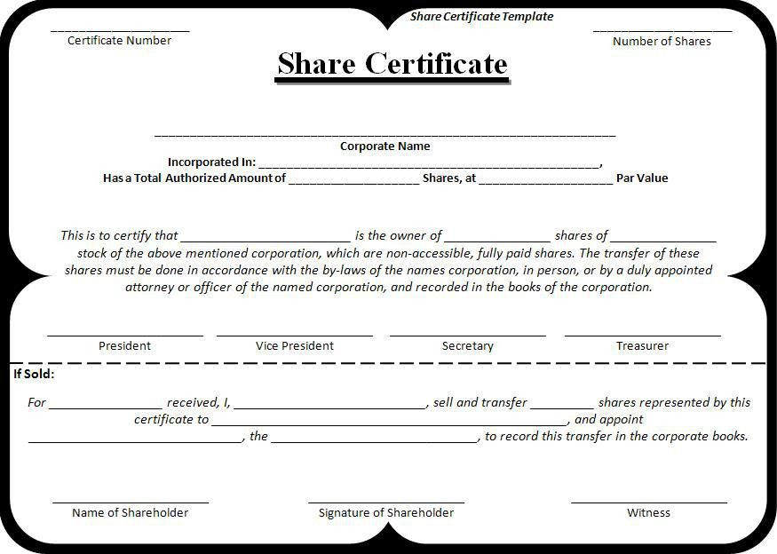 Shareholder Certificate Sample Share Certificate Template Free - certificate sample in word