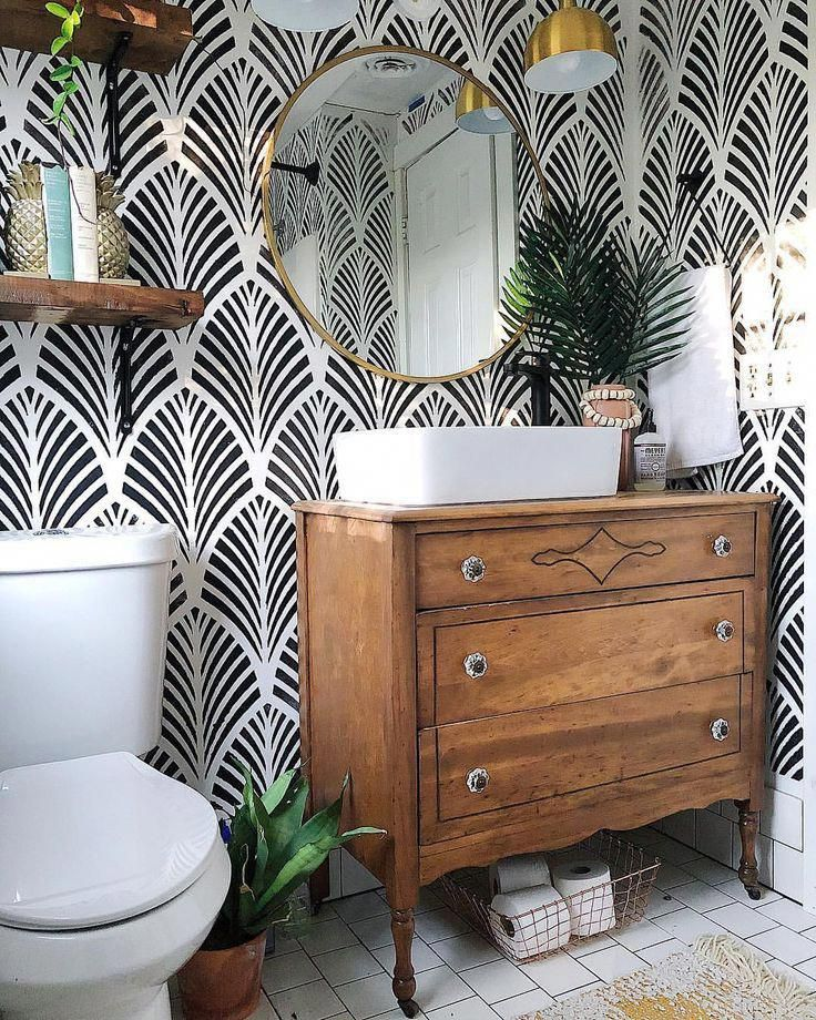 Pattern wallpaper in powder room bathroom, black and white wallpaper in farmhouse style bathroom with vintage dresser as vanity and vessel sink #BathroomFurnitures