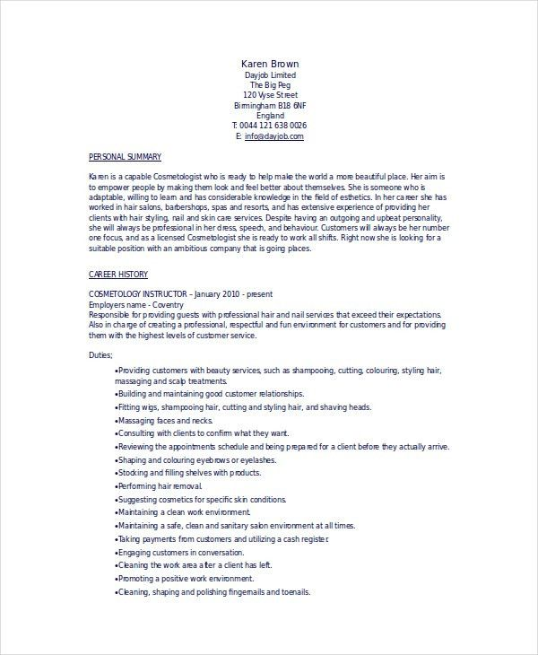 Cosmetologist Resume Example Cosmetology Resume Cosmetologist  Resume For Cosmetology