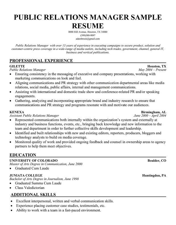 public relations resume objective examples - Boatjeremyeaton - public relations resume objective examples