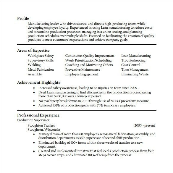 sample production supervisor resume production supervisor resume supervisor resume skills