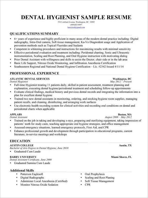 Dental Hygienist Resume Example Dental Hygienist Resume Sample - medical office receptionist resume