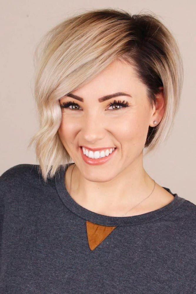 Short Asymmetric Bob #bobhairstyles #ombrehair #blondehair ★  Short hairstyles for round faces are in trend! If you have blonde hair and a round face, check out these 40 hairstyle ideas. #glaminati #lifestyle #shorthairstylesforroundfaces