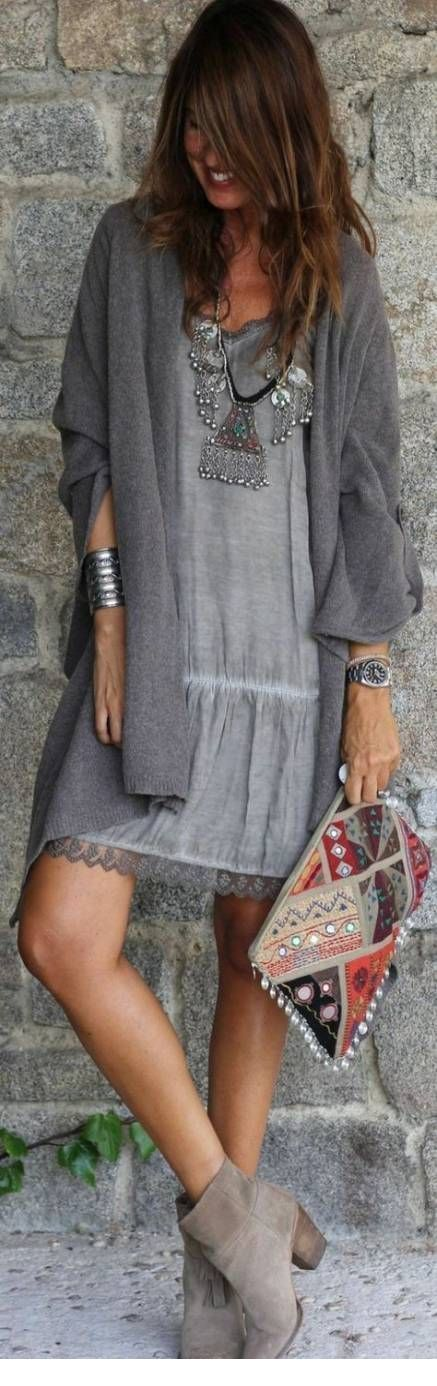 All grey boho chic style