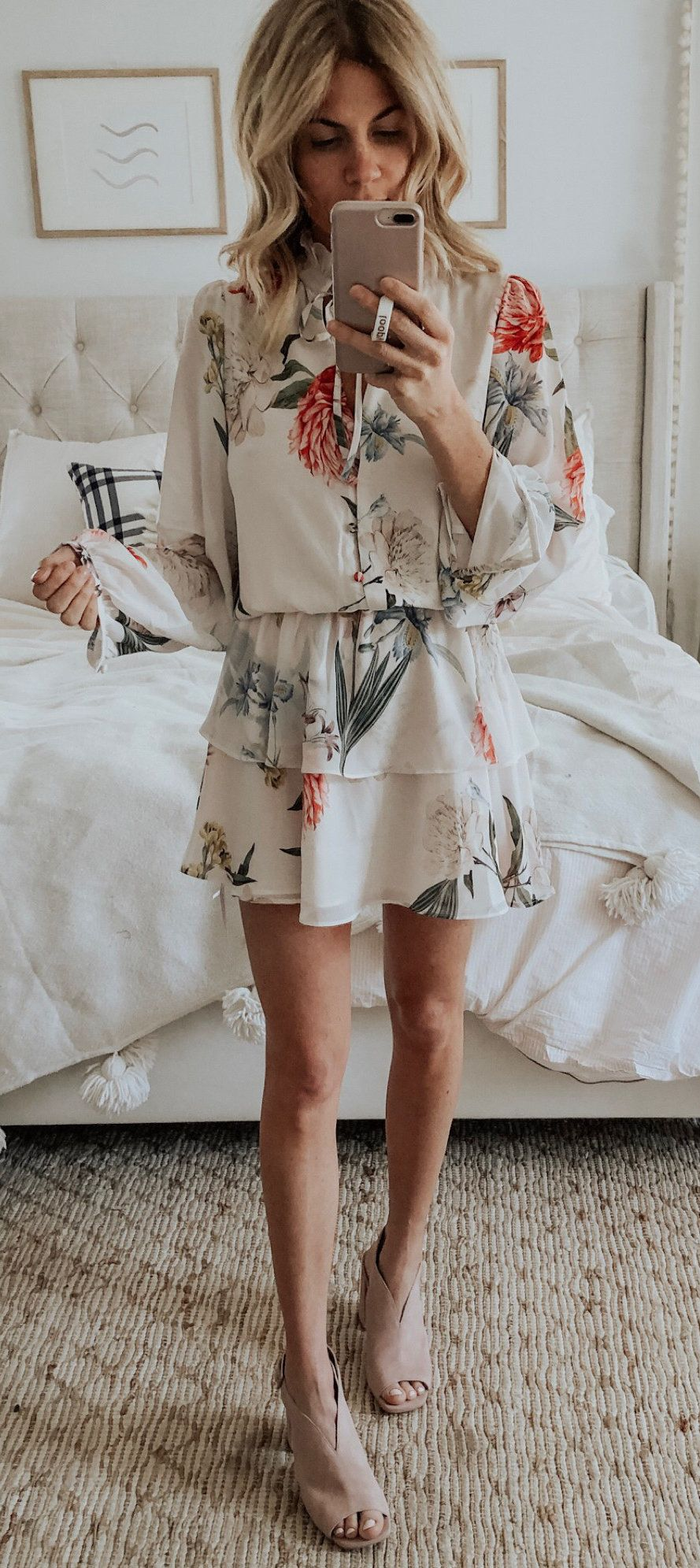 white and pink floral button-up shirt #spring #outfits