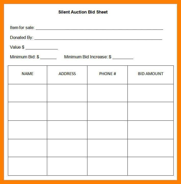 Bid Sheet Template Free Silent Auction Bid Sheet Template 17 - sample silent auction bid sheet