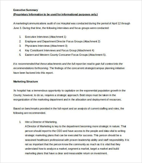 Executive Summary Template Word Executive Summary Office - business summary template