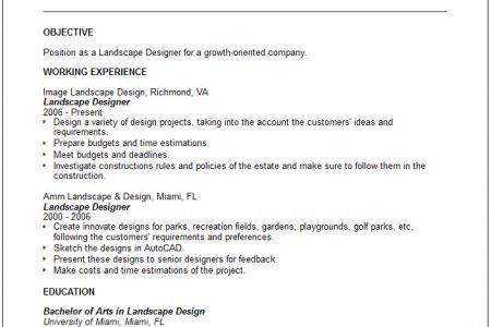 landscaping resume example
