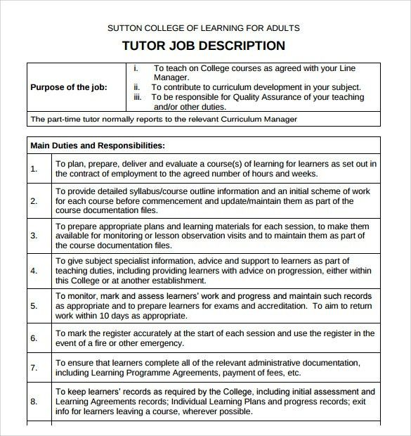 tutor resume template 13 free samples examples format within math