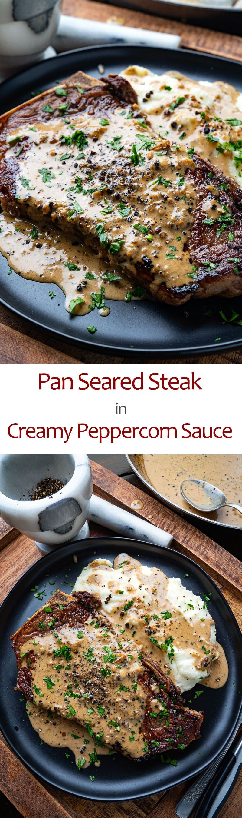 Pan Seared Steak in Creamy Peppercorn Sauce