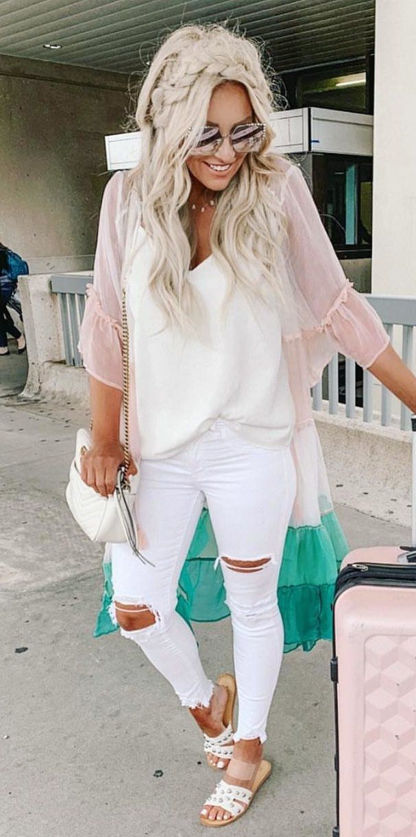 distressed white jeans #spring #outfits
