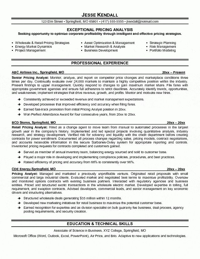 resume objective business analyst