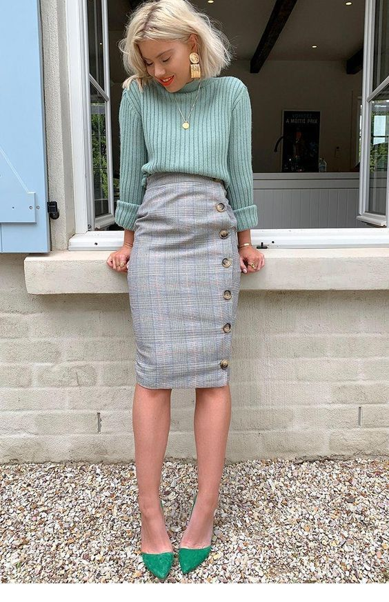 Mint sweater, green shoes and plaid skirt