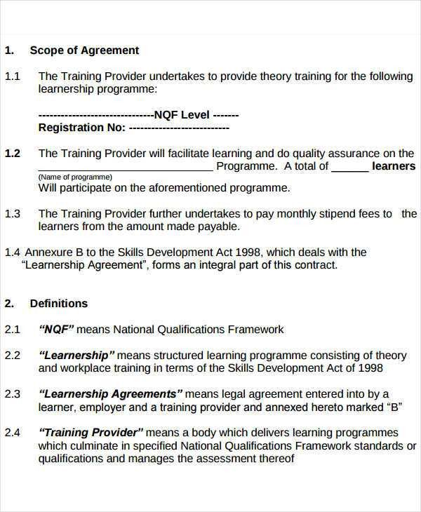 Training Agreement Template Training Contract Template Contract - development contract templates