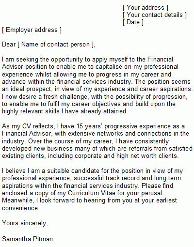 Financial Planner Cover Letter Template | Cover Letter