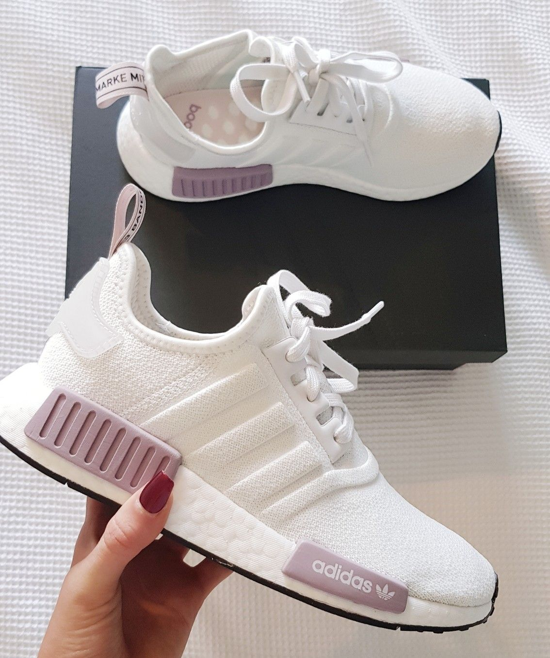 womens running shoes trainers NMD r1 white and purple pink