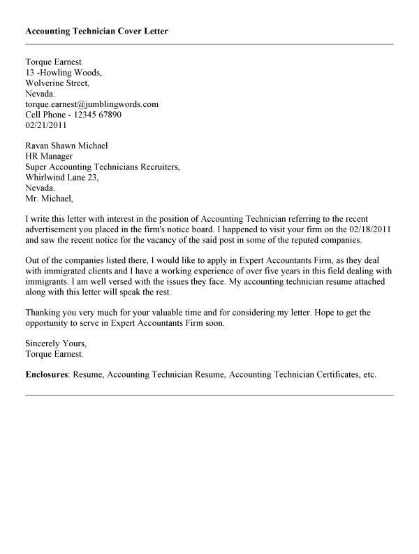 ... Accounting Technician Cover Letter Accounting Technician Cover   Biomedical  Technician Cover Letter ...