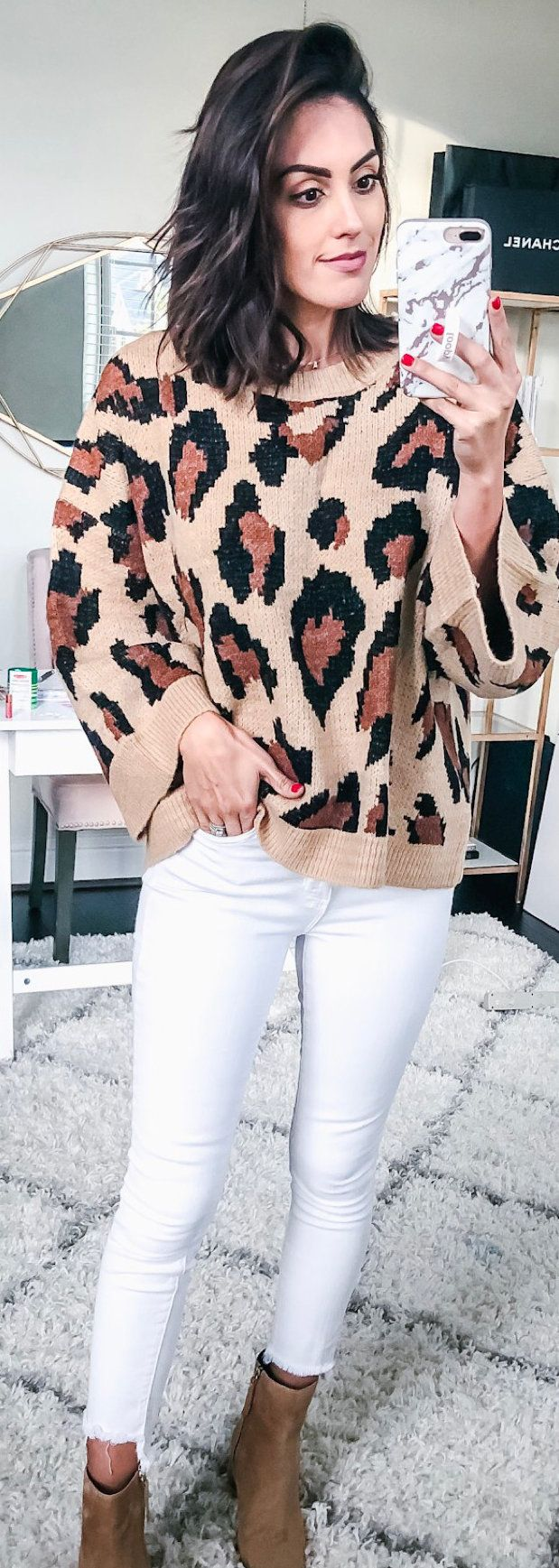 black and brown leopard print sweater