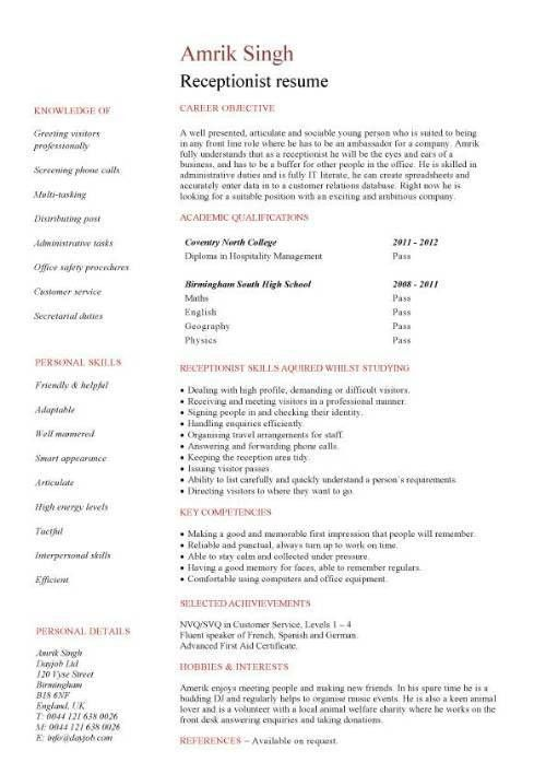 Medical Front Office Resume Sample Medical Receptionist Cv  Medical Front Office Resume
