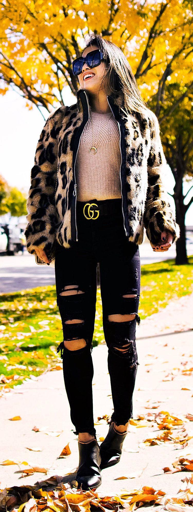 brown and black leopard zip-up jacket