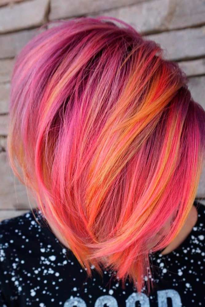Bold Color Mix #colorfulhair #shorthairstyles ★ Pink hair color is full of surprises. Moreover, it can be different; as different as you want! Dive in to see the latest rose ideas. Besides hot bright highlights for long hair and pastel ombre for short locks, we've prepared a little product review for your successful DIY coloring! #glaminati #lifestyle #pinkhair