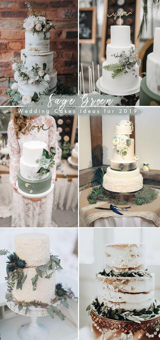 silver sage green wedding cake ideas for 2019