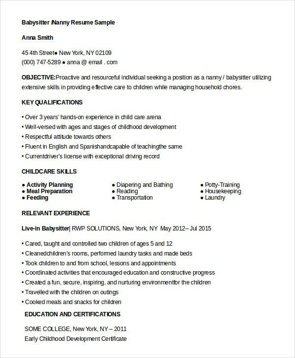 resume for babysitter unforgettable babysitter resume examples to nanny resume template