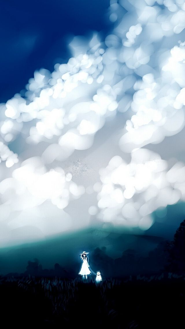 ↑↑TAP AND GET THE FREE APP! Art Creative Anime Asia Cartoon Blue Abstract Sky HD iPhone Wallpaper