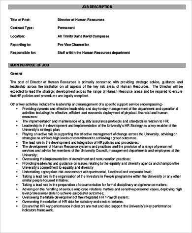 Role of hr manager - hr director job description